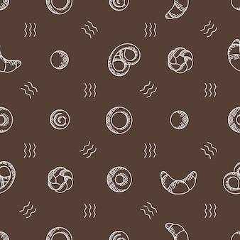 Bakkerijproducten naadloze vector patroon