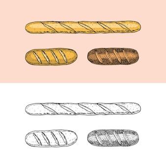 Bakkerijproducten stokbrood en broodtaart en cake gegraveerd met de hand getekend in oude schets en vintage stijl