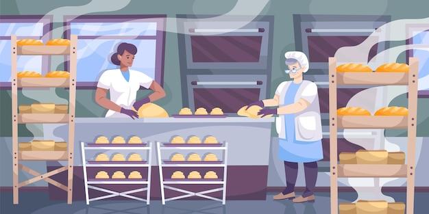 Bakkerijproductiesamenstelling met uitzicht op keuken met rekken en meerdere ovens met bakkers die broodillustratie bereiden