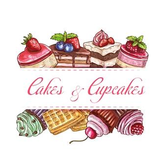 Bakkerijtaarten, cupcakegebak en zoete desserts schets poster of dekking voor café menu. patisserie-chocoladetaarten, belgische wafels, cheesecake en zoetwaren met room en verse bessen