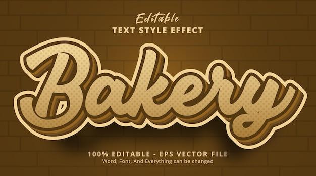 Bakkerijtekst op geroosterd kleurteksteffect, bewerkbaar teksteffect