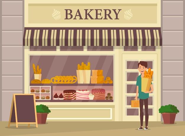 Bakkerijwinkel of winkelvitrine en klant