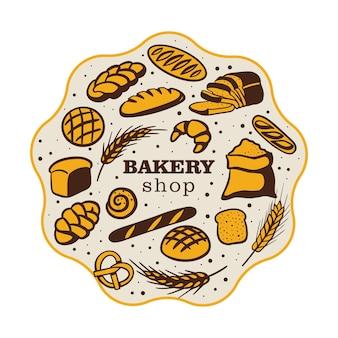 Bakkerijwinkellabel met ander brood en broodje. vector handgetekende illustratie
