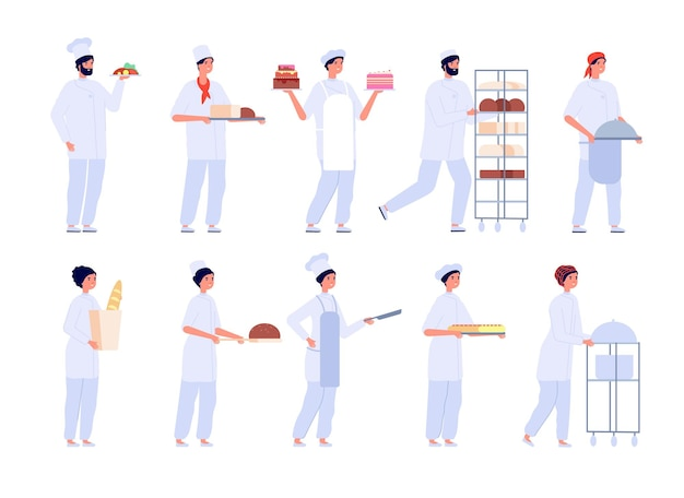 Bakkers karakters. cartoon schattig meisje bak taart. platte professionele chef-kok bakken. bakkerij, zoetwaren en brood, mensen koken vector set. taart en bakker koken, dessert bakken of gebak illustratie