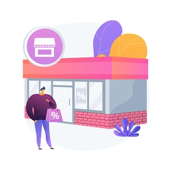 Baksteen en mortel abstract concept illustratie. bedrijf aan de straat, fysieke aanwezigheid in gebouw, persoonlijke service, fysieke winkel, lokale verhuurwinkel