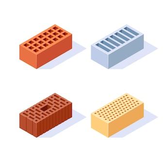 Baksteen isometrische iconen set van 3d bouwblokken in vlakke stijl illustratie