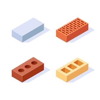 Baksteen isometrische pictogrammen. set van 3d-bouwblokken. in vlakke stijl op een witte achtergrond.
