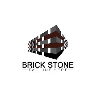 Baksteen steen logo vector pictogram illustratie ontwerpsjabloon