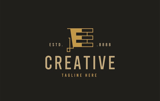 Baksteenconstructie logo-ontwerp vectorillustratie van het eerste e-baksteenconstructiepictogramontwerp