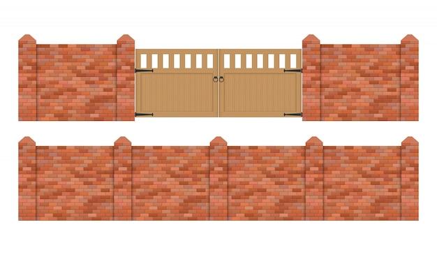 Baksteenomheining met houten poortillustratie die op witte achtergrond wordt geïsoleerd