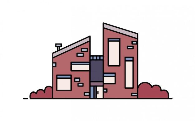Bakstenen huis gebouwd in moderne architectonische stijl met gebruik van ecologische materialen.