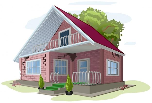 Bakstenen huisje met scheuren op muren. rode bakstenen huis fout constructie
