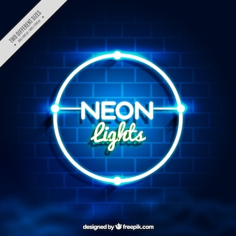 Bakstenen muur achtergrond met neon cirkel