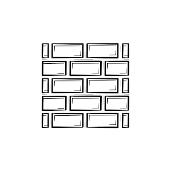 Bakstenen muur hand getrokken schets doodle pictogram. bouw van muur van baksteen vector schets illustratie voor print, web, mobiel en infographics geïsoleerd op een witte achtergrond.