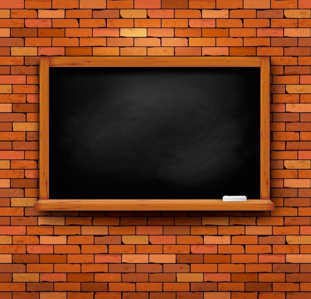 Bakstenen muur met een schoolbord.