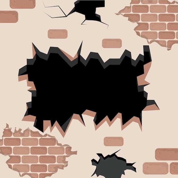 Bakstenen muur met gat