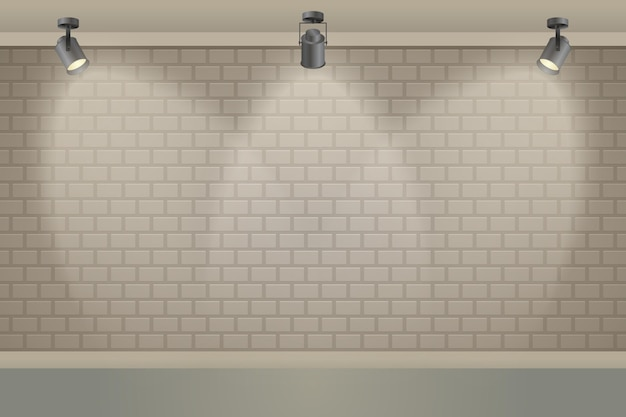 Bakstenen muur met spotlichten achtergrond