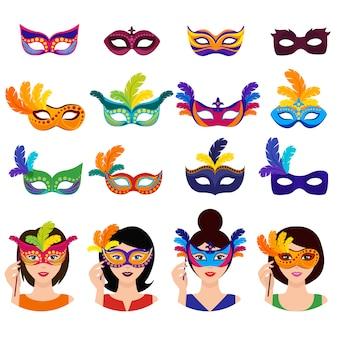 Bal carnaval icons set