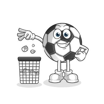 Bal gooi vuilnis in de illustratie van de prullenbakmascotte