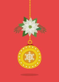 Bal het hangen van vrolijke kerstmisdecoratie