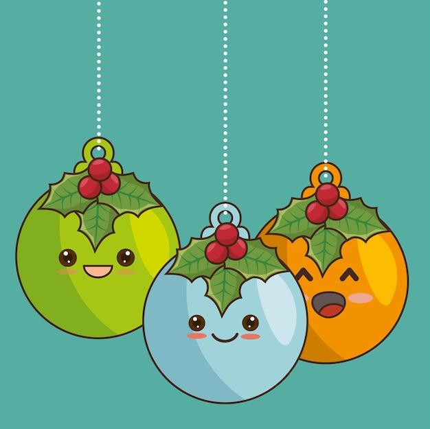 Bal kerstmis karakter opknoping