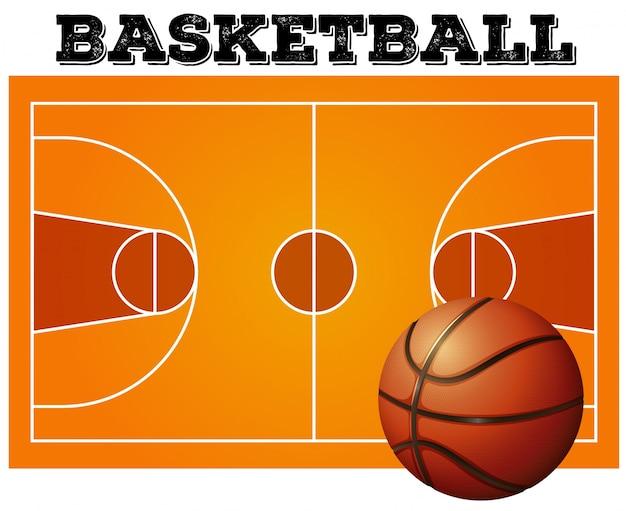 Bal op de achtergrond van het basketbalveld