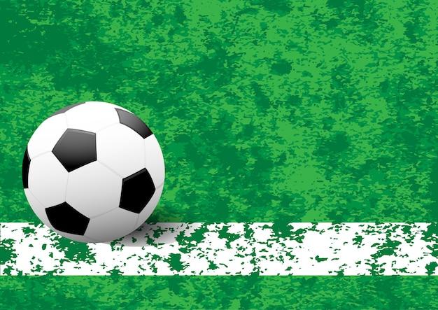 Bal op witte streep op een voetbalveld