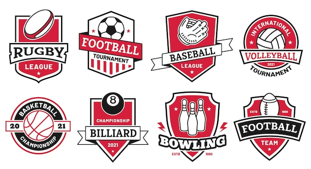 Bal sport logo. badges voor amerikaanse voetbal-, voetbal- en basketbalcompetitie. volleybal en bowling toernooi symbool op schild vector set. illustratie logo sportclub, honkbal badge