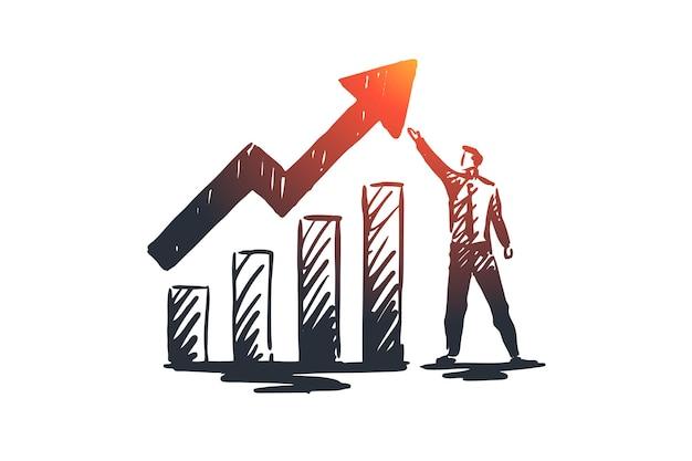 Balans, analyse, financieel, groei, grafiekconcept. hand getekende groeigrafiek en manager concept schets.