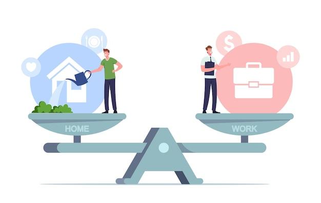 Balans tussen werk en thuis illustratie. kleine mannelijke personages balanceren op enorme schaal