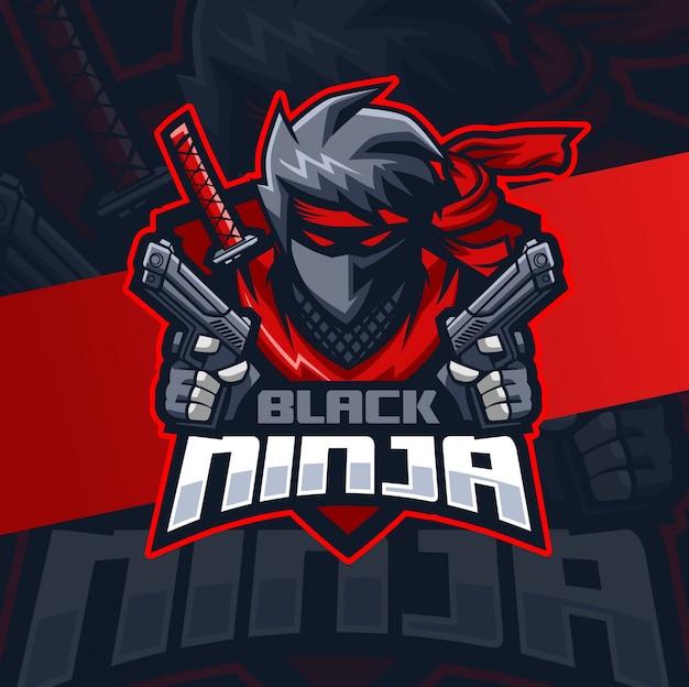 Balck ninja met geweer mascotte esport logo ontwerp
