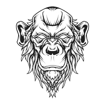 Bald chimp head logo line art