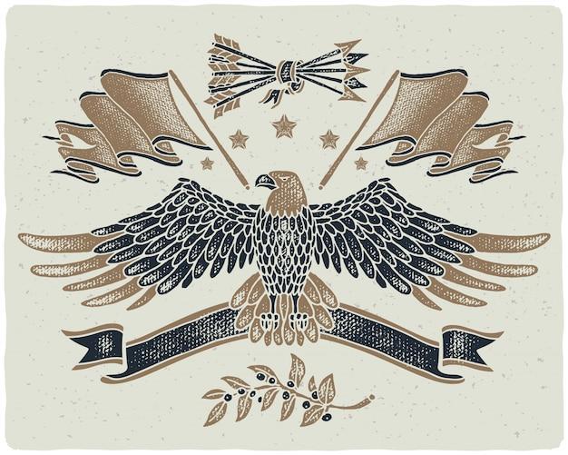Bald eagle getextureerde illustratie