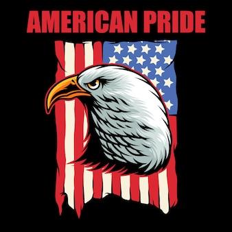 Bald eagle head en amerikaanse vlag