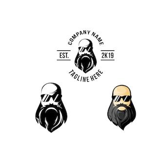 Bald hoofd baard logo ontwerp
