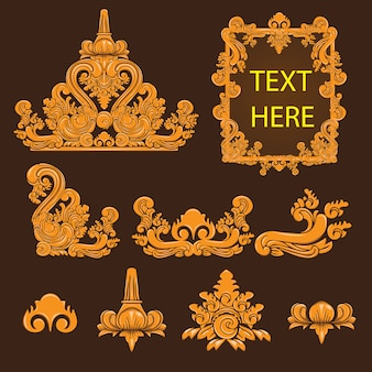 Bali culture and traditional decorative elements design collection