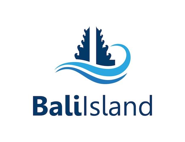 Bali gate en ocean wave eenvoudig, strak creatief geometrisch modern logo-ontwerp