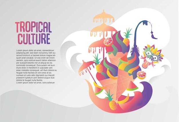 Bali gelato tropische cultuur sjabloon