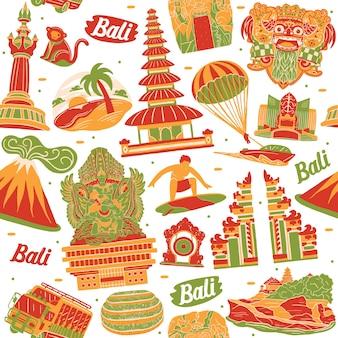 Bali naadloos patroon met oriëntatiepuntenelementen