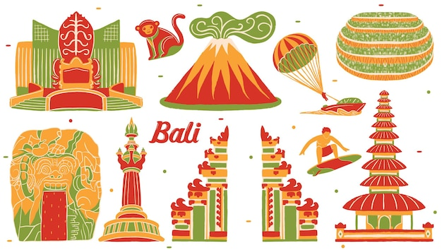 Bali-oriëntatiepunt in platte ontwerpstijl