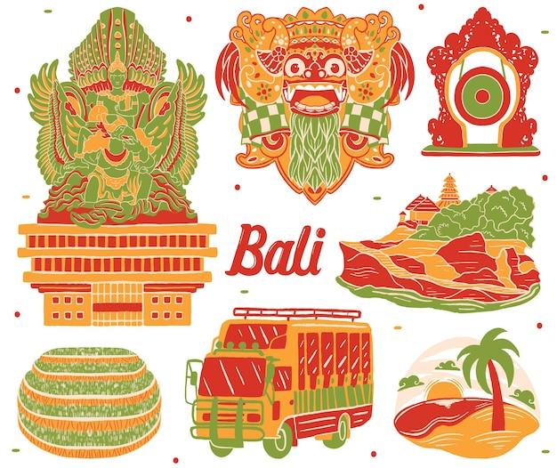 Bali stadsgezicht in platte ontwerpstijl