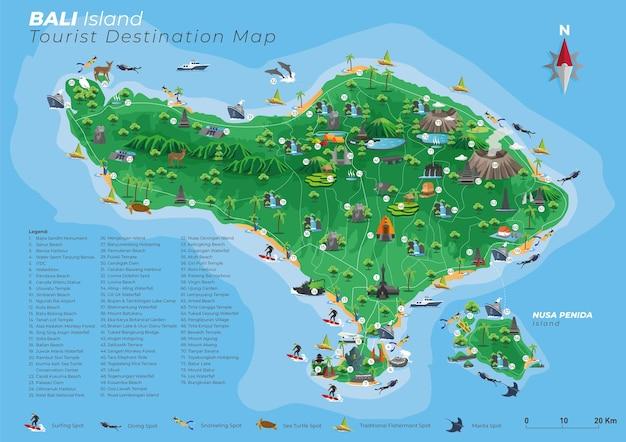 Bali toeristische bestemmingskaart met details Premium Vector