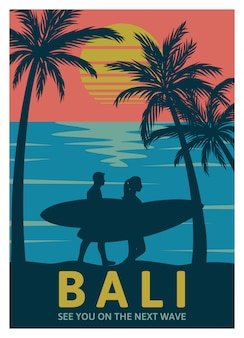 Bali, tot ziens op de volgende golf retro poster-sjabloon