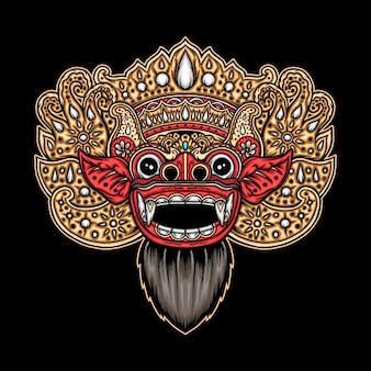Balinees barong masker. premium vector