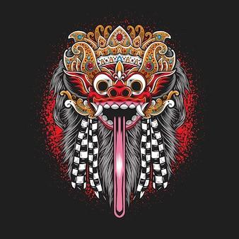 Balinees barongmasker dat op zwart wordt geïsoleerd