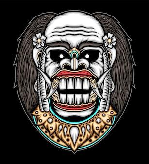 Balinese demon illustratie. premium vector