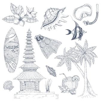 Balinese symbolen ingesteld