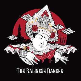 Balinese traditionele mannelijke dansersillustratie