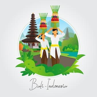 Balinese vrouwen die aanbiedende achtergrond dragen