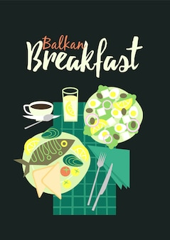 Balkan keuken ontbijt traditionele illustratie